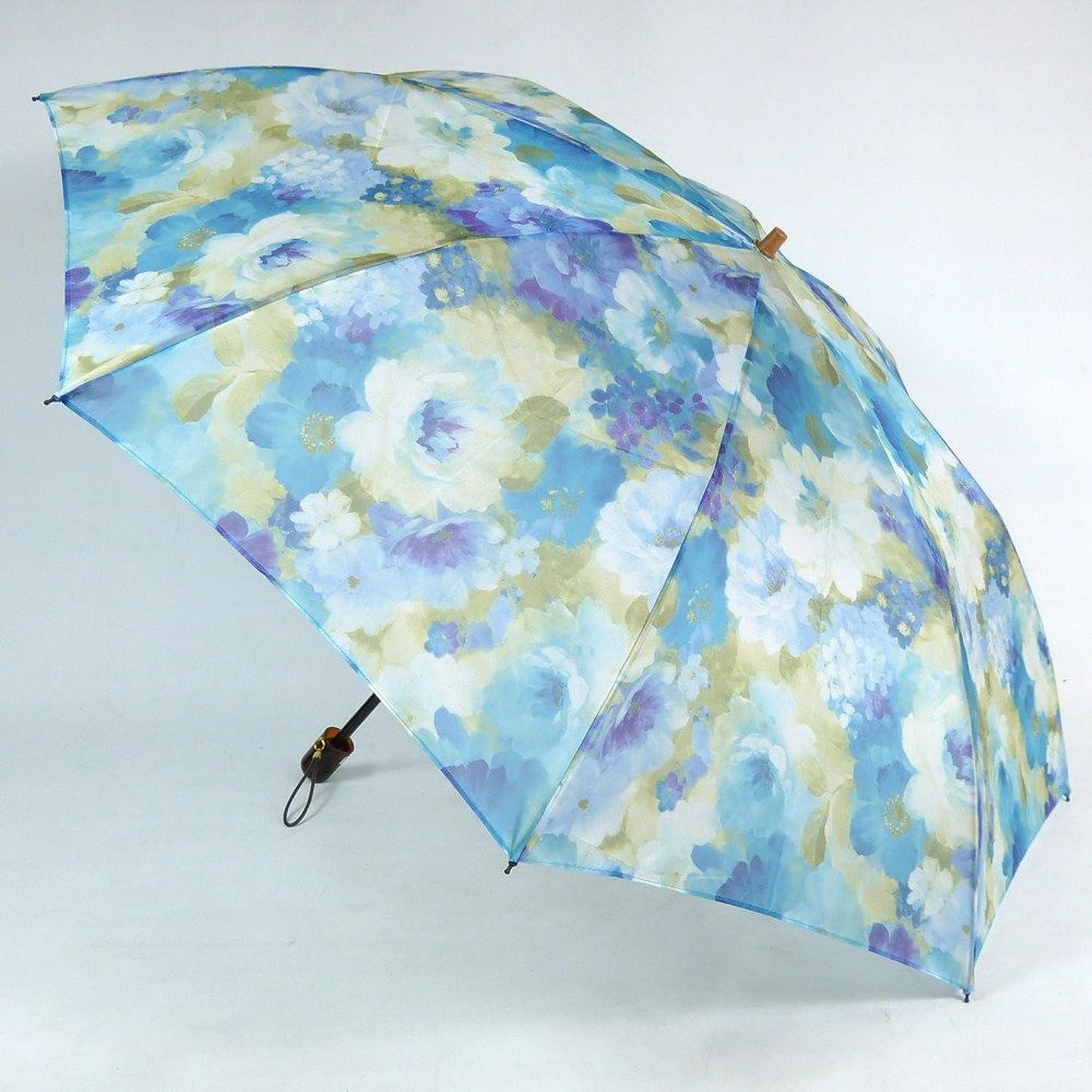 愛する理解大声でレディース雨傘 折傘 2段式 オーガンジーアンブレラ 「マスターフラワー」 花柄 軽量 おしゃれ 雨晴兼用雨傘 uvカット加工 折りたたみ傘 日本製 エイト 26059 スカイブルー/シアン