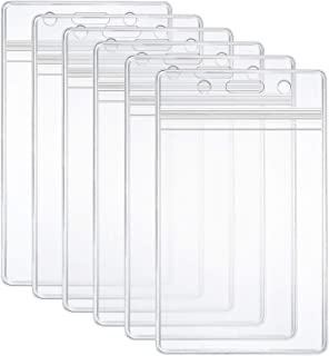 6 Pcs Extra Thick ID Card Badge Holder, Vertical Clear PVC Card Holder with Waterproof..