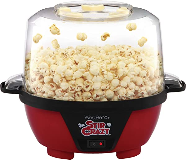 West Bend 82505 Stir Crazy Electric Hot Oil Popcorn Popper Machine With Stirring Rod Offers Large Lid For Serving Bowl And Convenient Storage 6 Quart Red