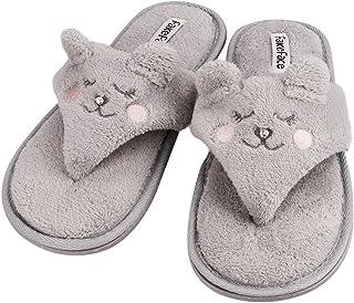 4d1f47031 Women s Velvet Thong Spa Slipper Soft Cat Decor Open Toe Flip Flop Winter  Warm Flat Footwear