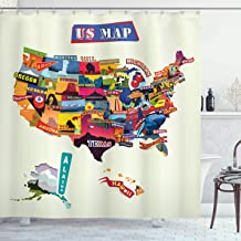 Ambesonne Wanderlust Shower Curtain, US Map Seashore and Sunflowers Tourist Attractions Jersey Cow Milk Corn Field, Cloth Fabric Bathroom Decor Set with Hooks, 84 Long Extra, Cream Blue