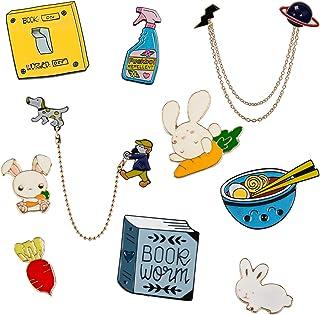 10 PCS Cute Enamel Pin Set | Rabbit Carrot Lapel Pin Set Badges Clothes Accessories Gifts