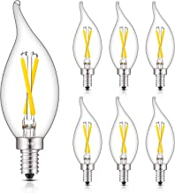 CRLight 2W LED Candelabra Bulb Daylight White 6000K 30W Equivalent 300LM, E12 Base Dimmable LED Chandelier Bulbs, Antique CA11 Clear Glass Candle Flame Shape, 6 Pack