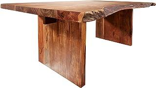 MASSIVMOEBEL24.DE Table à Manger 190x110cm - Bois Massif d'acacia laqué (Noisette) - Design Naturel - Freeform #102