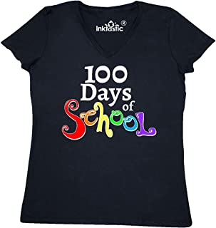 inktastic 100 Days of School- Rainbow Letters Women's V-Neck T-Shirt