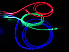 DeHasion 3 Packs 3.3ft Light Up Led Charging Cable Glow in The Dark Current Visibility Flowing LED Lights Charging Cable Compatible with Phone Xs/Xs Max/XR/X/8 Plus /7 Plus/6s Plus (Blue/Grenn/Red)