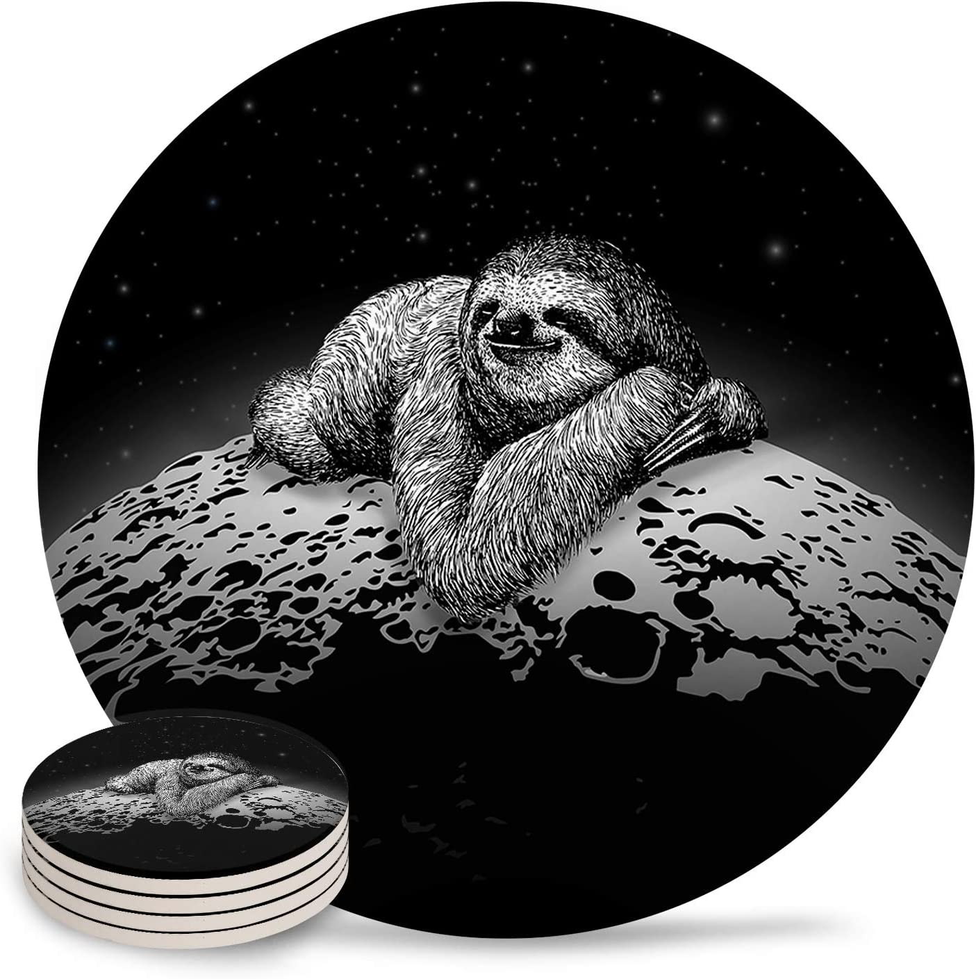 Drink Coasters Funny Sloth in Moon Ceramic Stone Sale special price Absorbent In stock Space