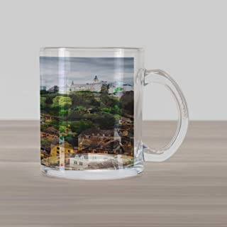 Ambesonne Landscape Glass Mug, View of Old Town Area Luxembourg City Touristic Destination European Scenic Photo, Printed Clear Glass Coffee Mug Cup for Beverages Water Tea Drinks, Multicolor