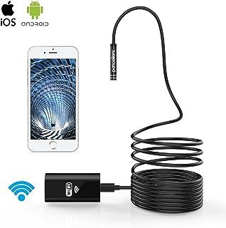 Pancellent WiFi endoscopio Wireless boroscopio 2.0 Mega Pixeles HD inspección cámara rígida Serpiente Cable (5 mediciones) para iOS iPhone Samsung Smartphone Android