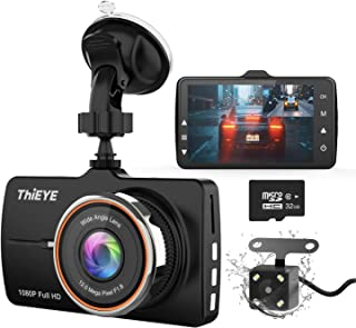 """ThiEYE Dash Cam Front and Rear Car Camera Dual Dashcam FHD 1080P 3.2"""" IPS Screen with SD Card 170°Wide Angle, Loop Recordi..."""