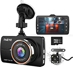 """ThiEYE Dash Cam Front and Rear Car Camera Dual Dashcam FHD 1080P 3.2"""" IPS Screen with SD Card 170°Wide Angle, Loop Recording, WDR,Night Vision, G-Sensor"""