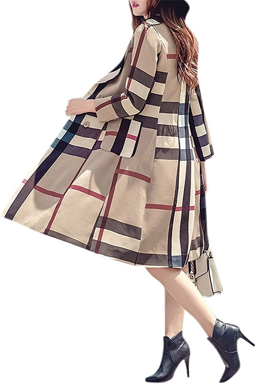 YUNJIYIFANG Women's Long Winter Dress Lapel Plaid color Block Retro Trench Coat