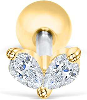 ONDAISY 14K Gold Plated Simulated Diamond Cz Dainty Love Heart Ear Barbell Ball Stud Earring Piercing