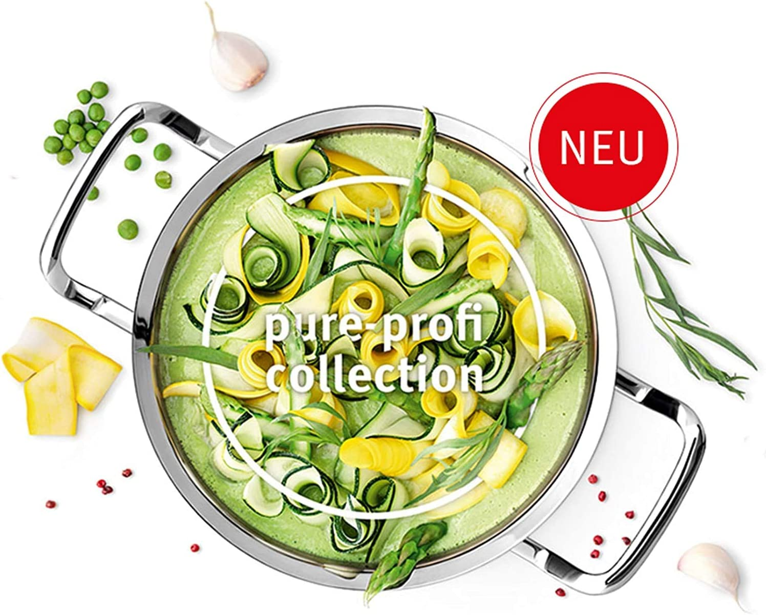 /Ø 20 cm, 2,6 Liter Br/äter mit Metall-Deckel Fissler pure-profi collection // Braten-Topf Edelstahl-Kochtopf Induktion