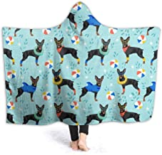 YongColer Hoodie Blankets Soft Cozy Sherpa Flannel Sleeping Blankets, Adults Children Throw Wrap for Bed Couch Chair Living Room - Miniature Pinscher Pool Wearable Throw
