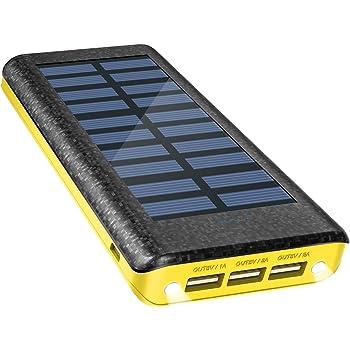 Chargeur Solaire Power Bank 24000 mAh, chargeur de batterie externe de marque OLEBR avec port d'entrée à grande vitesse, 2 Indicateurs LED, 3 ports USB de charge haute vitesse pour iPhone, iPad, Samsu