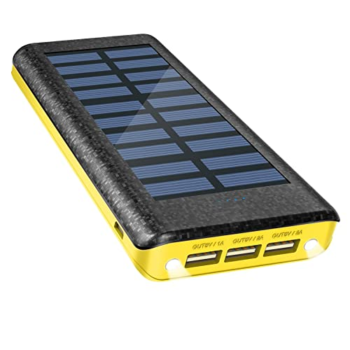 Solar Charger Power Bank 24000mAh , OLEBR Portable Charger big Capacity External Battery with high Speed Input Port, 2 LED Light and 3 High Speed USB Charging Ports for ios, Android