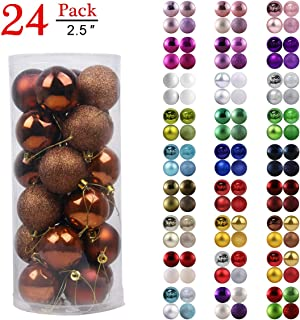 GameXcel Christmas Balls Ornaments for Xmas Tree - Shatterproof Christmas Tree Decorations Large Hanging Ball Bronze 2.5