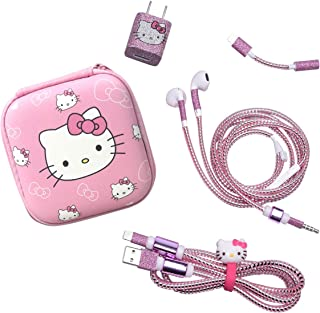 Dolopow Earbud Case Headphone Organizer Hard Shockproof Earphone Case Storage Bag for Earbuds Earphone Data Cable USB Charger Data Line Earphone DIY Wire Saver Protector - Hello Kitty