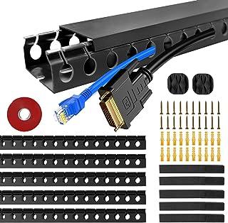 5 stycken kabelkanaler, kabelhantering skrivbord kabelskydd gömma för kontor och hem, svart, 37 x 4 x 2,5 cm