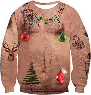 Idgreatim Unisex Ugly Christmas Crewneck Sweatshirt Novelty 3D Graphic Long Sleeve Sweater Shirt