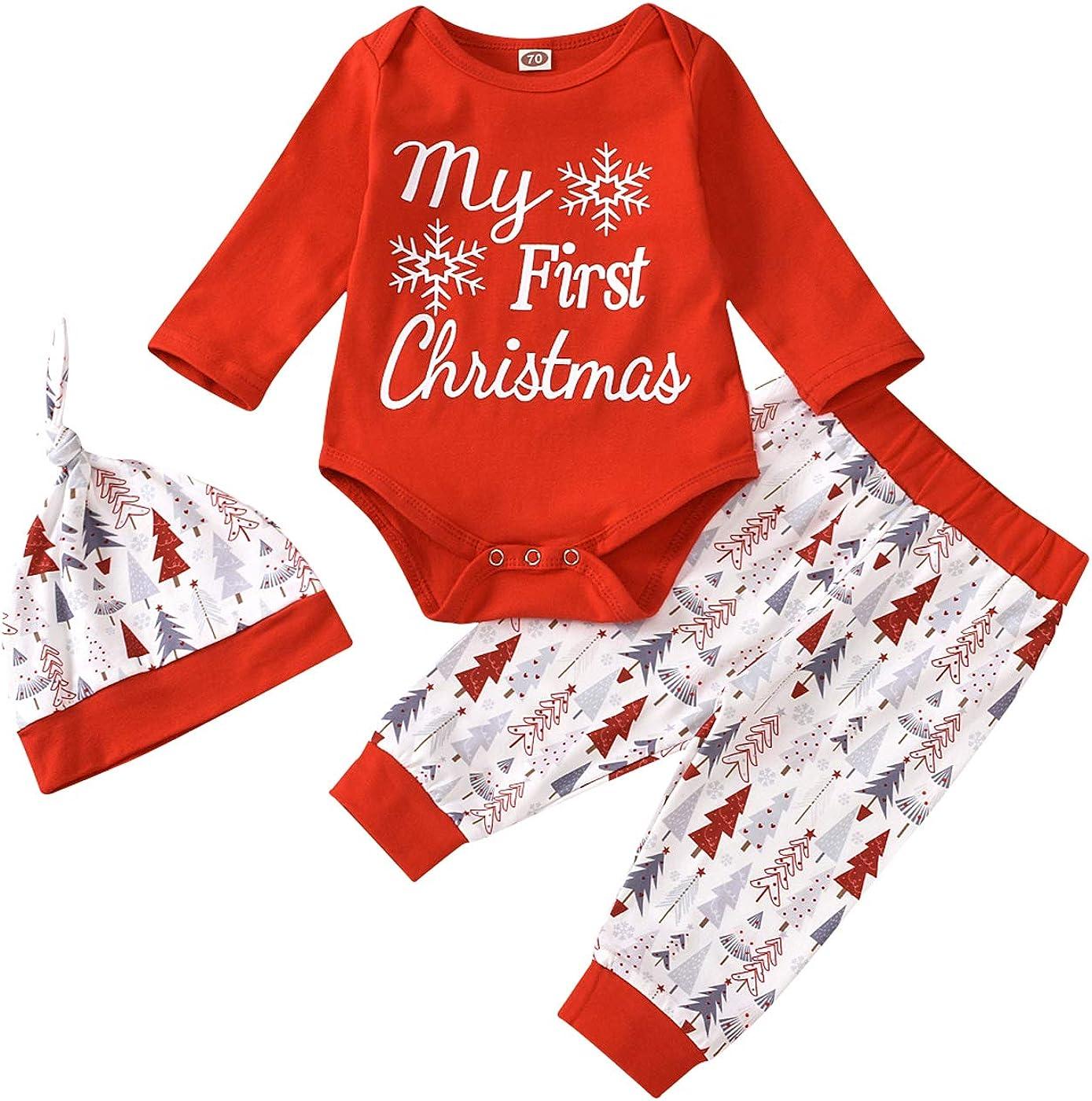 4Pcs Christmas Baby Long Sleeve My First Christmas Romper Snow Romper Bodysuit+Arrow Pant+Hat+Headband Clothes