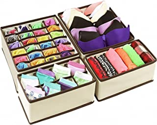 Underwear Drawer Organisers, Home-Mart Set of 4 Bras and Socks Closet Dividers for Bedroom and Dressing – Folding Collapsi...