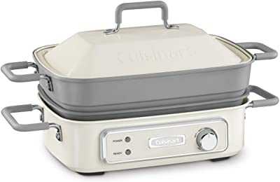 "Cuisinart GR-M3 STACK5 Multifunctional Grill, 12.0""(L) x 9.0""(W) x 6.0""(H), Off-White"