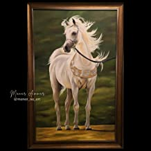 121 × 76 سم حصان عربي أبيض لوحة زيتية كبيرة أصلية ذات إطار، مرسومة باليد للديكور الداخلي الفاخر مع إطار ذهبي