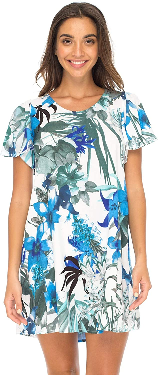 Back From Bali Womens Floral Summer Beach Dress Boho Tropical Print Tunic Top Short Sundress Swimsuit Cover Up
