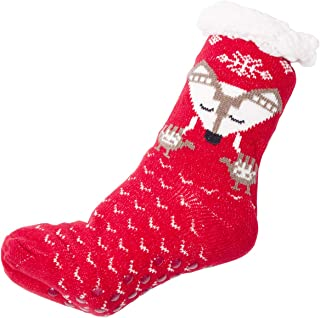 Women's Warm Fox Print Knit Long Sock Lining Inside and Silicon Rubber Grippers