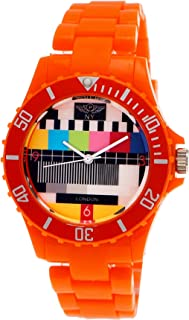 Retro Classic Unisex Testpage Closedown TV Screen Test Pattern Women Men Plastic Bracelet Watch Ladies Watch Mens Watch Wristwatch Orange including Watch Box and Bracelet Shorter