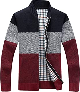 Men's Classic Band Collar Full Zip Color-Block Stripe Cable Knitted Cardigan Sweater Coat