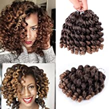 8 inch Ombre Jumpy Wand Curl Crochet Hair Jamaican Bounce Synthetic Fiber Braiding Hair 3 pcs Crochet Braids Hair Extensions for Black Women