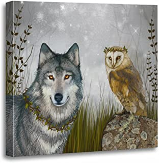 TORASS Canvas Wall Art Print Forest Wolf and Owl Nature Goth Gothic Phaedra Artwork for Home Decor 20