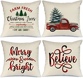 AENEY Christmas Decorations Pillow Covers 18x18 Set of 4 Marry Bright Buffalo Plaid Christmas Pillows Winter Holiday Xmas ...