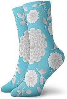 tyui7, Calcetines de compresión 3D realistas de papel floral antideslizantes Calcetines deportivos acogedores de 30 cm para hombres, mujeres y niños