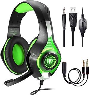 Samoleus - Auriculares de 3,5mm en estéreo para videojuegos con iluminación LED, compatible con Playstation 4PS4 yordenador, con cancelación de sonido y control de volumen verde