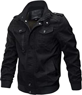 WULFUL Men's Cotton Military Jackets Casual Outdoor Coat Windbreaker Jacket