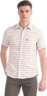 US Polo Association Men's Striped Regular fit Casual Shirt (USSH5725H_Natural 3xlhs)