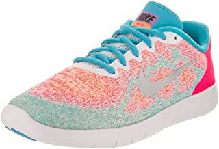 low priced 0e9d8 47e9d Nike Kids Free RN 2017 (GS) White Metallic Silver Running Shoe