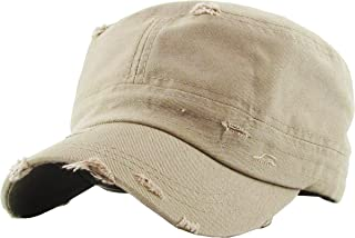 Funky Junque Military Style Cadet Hat Army Vintage Distressed Adjustable Cap