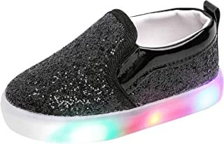 Szsppinnshp Toddler Girl`s Light Up Sequins Slip On Loafers Baby Glitter Shoes Flashing LED Casual Princess Party Shoes Fl...