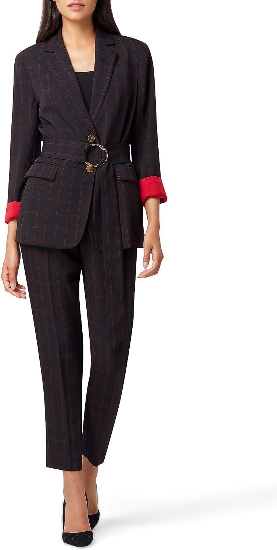 Tahari ASL 2 Button Jacket with Self Belt, Black Red Railroad, 8P