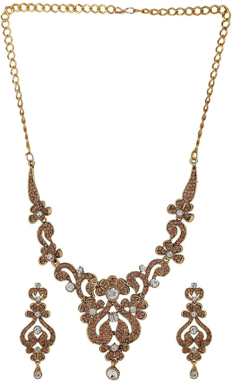Efulgenz Indian Crystal Rhinestone Austrian Diamond Blue Choker Neckalce Earrings Wedding Bridal Jewelry Set