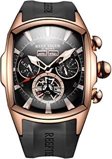 Reef Tiger Sport Watches for Men Rose Gold Tone Tourbillon Automatic Huge Big Watch Rubber Strap