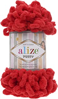 100% Micropolyester Soft Yarn Alize Puffy Hand Knitting Yarn Super Chunky Bulky Woven Worested Yarn Lot of 4skn 400gr 40yds Color 56 Red