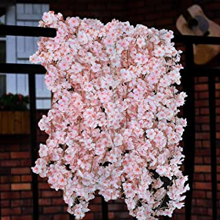 Artificial Cherry Blossom Garland Cherry Blossom Flowers Artificial Cherry Blossom Silk Cherry Blossom Garland Hanging Vine Silk Garland for Wedding Party Wall Decor