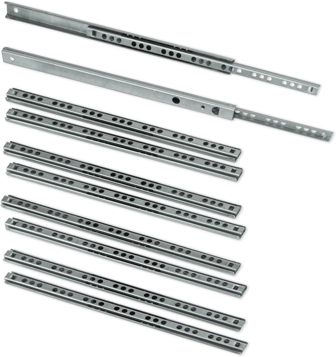 6 paires 12 Glissières de tiroirs coulisse à roulement à billes H 17mm L 310mm