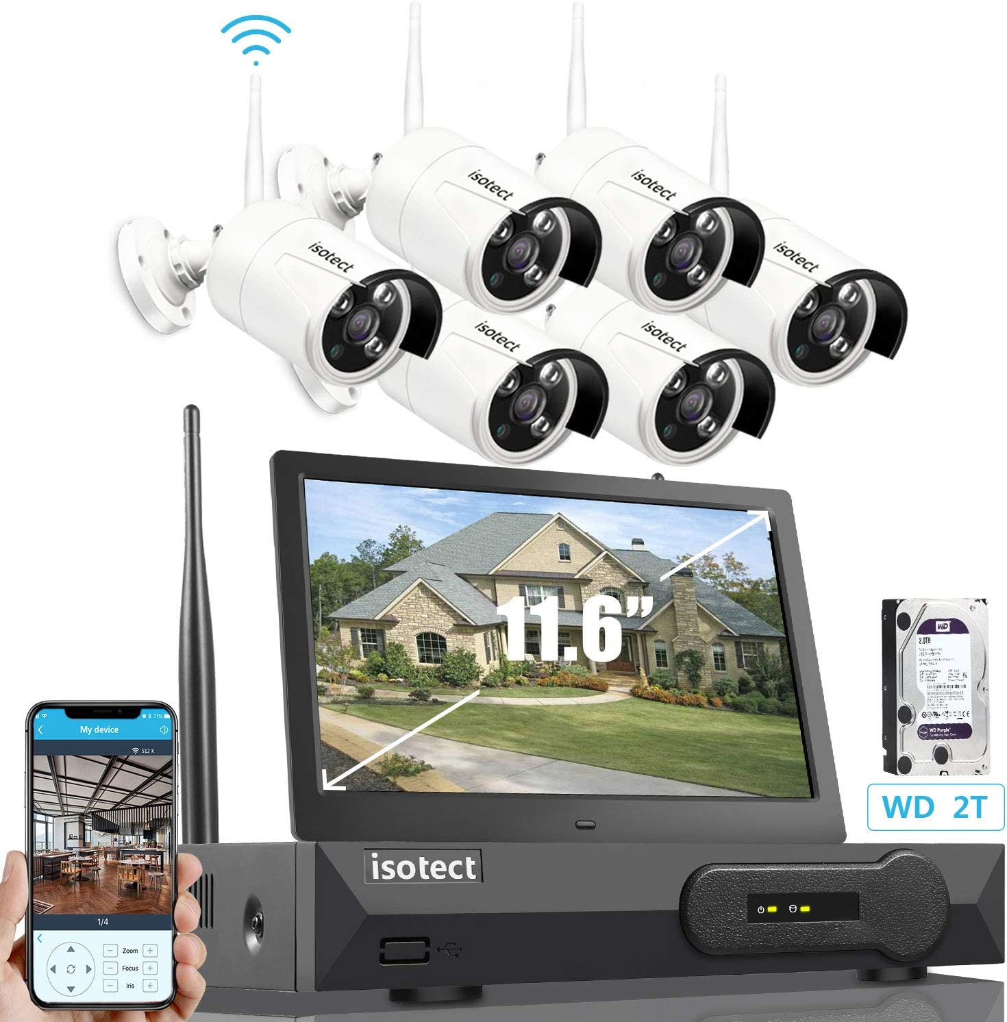 [Newest Strong Version]ISOTECT All in One with 11.6-inch Monitor Home Video Surveillance System, Wireless Security Camera System,8CH Full HD 1080P Security Camera System 6pcs 1080P IP Cameras, 2TB HDD